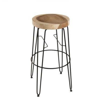 SET TABURETES  REDONDO COLECCIÓN CLARA - Set 2 taburetes de bar, redondos natural madera Mungur, patas metal