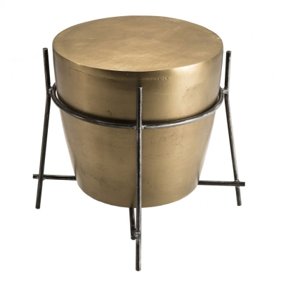 MESA AUX TAMBOR JOHAN - Mesa auxiliar redonda aluminio dorado en forma tambor