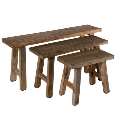 SET NIDO DE BANCO DE MADERA COLECCIÓN NORA - SET NIDO DE BANCO DE MADERA COLECCIÓN NORA, madera de caoba