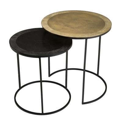 SET MESA AUX REDONDA JOHAN - Set de 2 Mesas auxiliar nido redondas aluminio dorado y negro - patas redondas metal