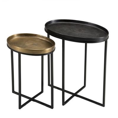 SET MESA AUX OVALES  JOHAN - Set de 2 Mesas auxiliares ovales aluminio dorado y negro - patas metal