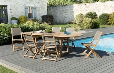 SET DE MESA Y SILLAS FUN 120 - Set de mesa y sillas de jardín, fabricada en Teca / Textilene