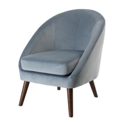 SILLÓN TERCIOPELO AZUL COLECCIÓN AGATHE - Sillón tejido terciopelo azul claro patas madera