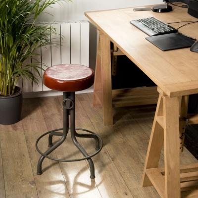 TABURETE AJUSTABLE ROMANO-5 - Taburete de bar INDUSTRIAL, asiento en cuero, patas metal