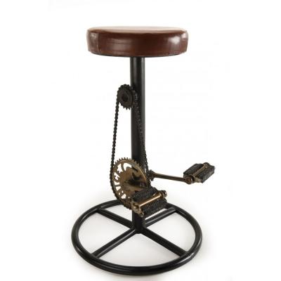 TABURETE AJUSTABLE ROMANO-6 - Taburete de bar INDUSTRIAL, asiento en cuero, patas metal, decoración de pedales