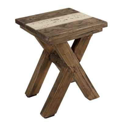 TABURETE BAJO COLECCIÓN NORA - Taburete en madera reciclada patas cruzadas