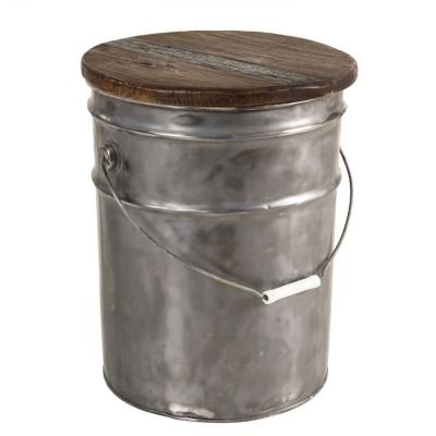 TABURETE BIDÓN COLECCIÓN NORA - Taburete redondo bidon acero y madera reciclada