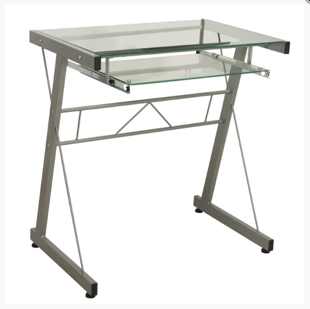 Escritorio cristal aluminio gris