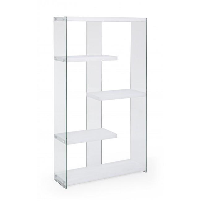 Estantería de cristal transparente templado y madera - Estantería de cristal transparente y madera dm blanco lacado