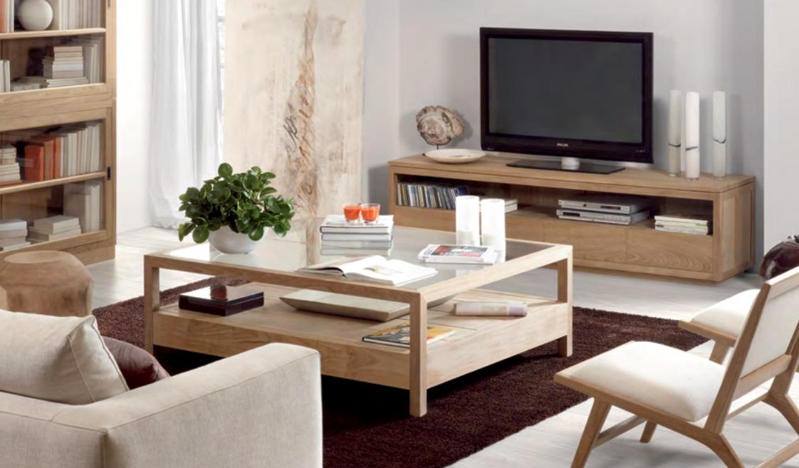 Mueble para televisión de madera de teca  - Mesa auxiliar para televisión de madera de teca.