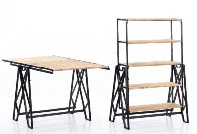 Estantería Ols  - Estantería transformable de madera y metal,