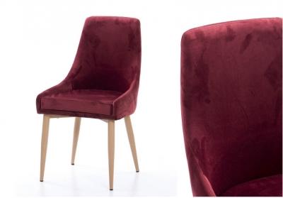 Silla de comedor Terzio vinotinto - Moderna silla de comedor Terzio, acabado de terciopelo vinotinto, patas de madera de haya