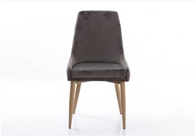 Silla de comedor Terzio gris - Moderna silla de comedor Terzio, acabado de terciopelo gris, patas de madera de haya
