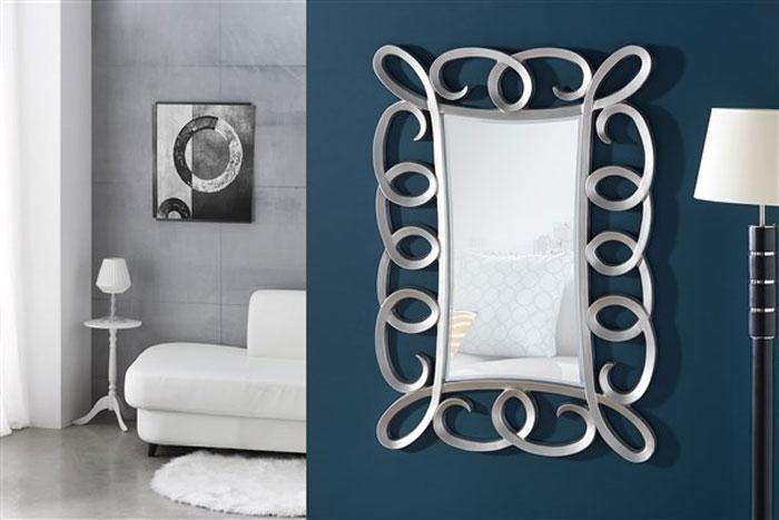 Espejo rectangular marco espirales  - Espejo rectangular, marco de espirales, acabado oro o plata.