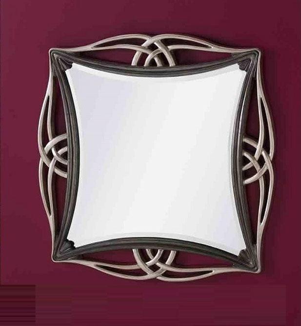 ESPEJO DE POLIRESINA LUNA BISELADA - Espejo con forma y marco de poliresina en color plata y marrón oscuro.