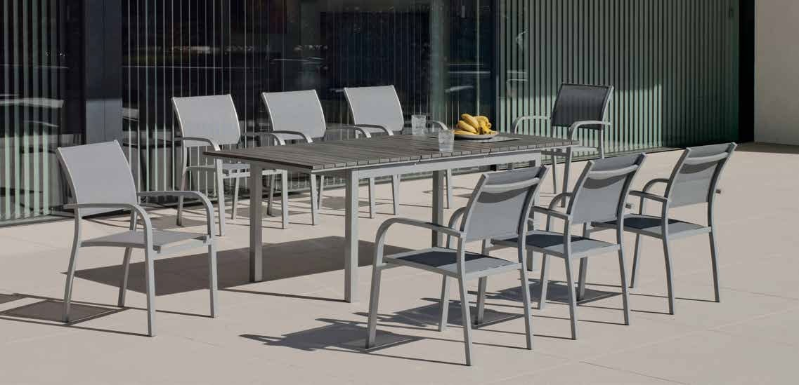 Set sillas y mesa modelo extensible Denis/Amberes - Juego de mesa desmontable de aluminio extensible con tablero poliwood modelo Denis/Amberes