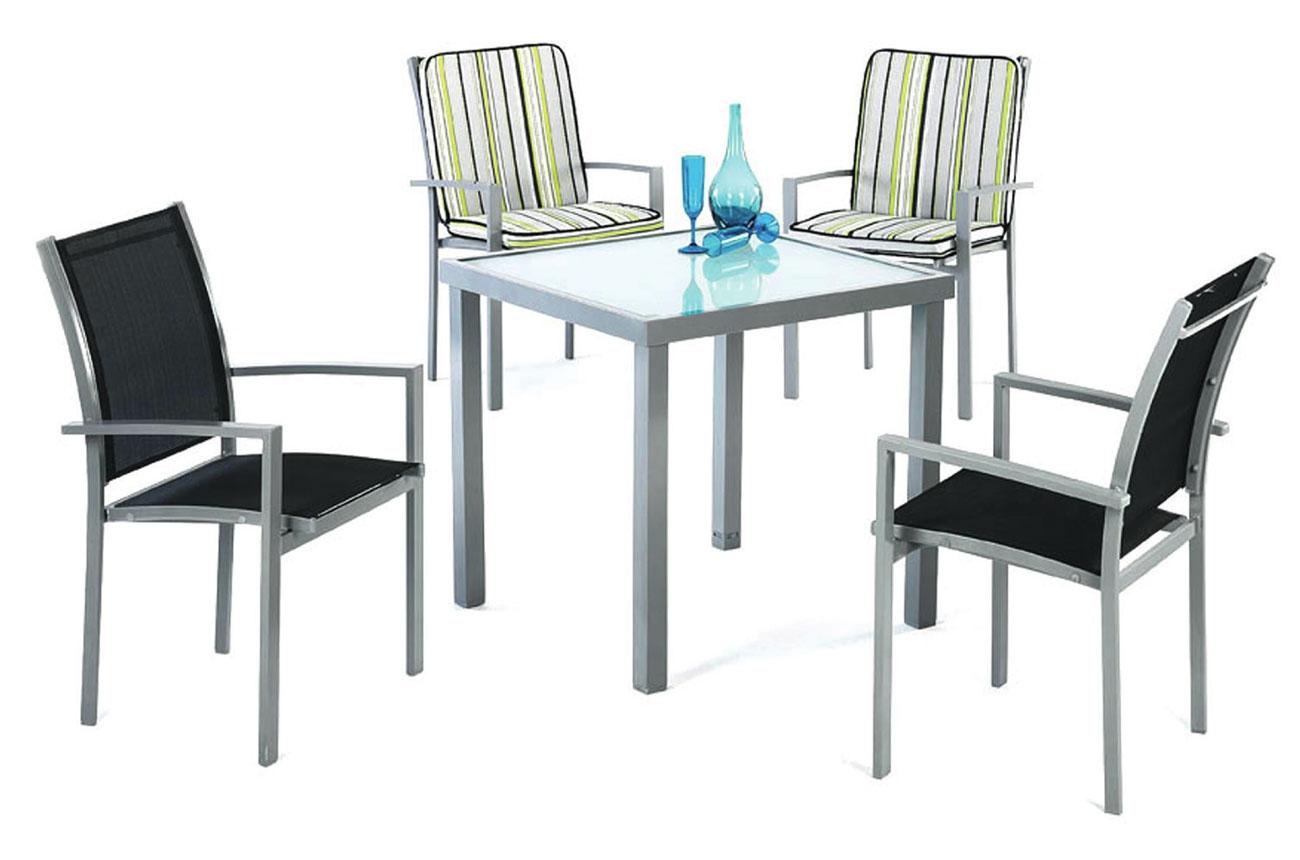 Mesa o Sillón Perseo 808 - Mesa o Sillón Perseo 808, Mesa desmontable de aluminio con cristal templado. Sillón aluminio / textilén apilable.
