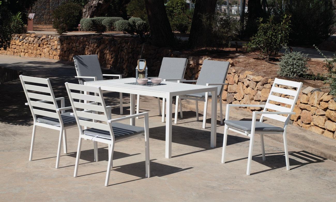 Set Mesa de aluminio Palma 150-6