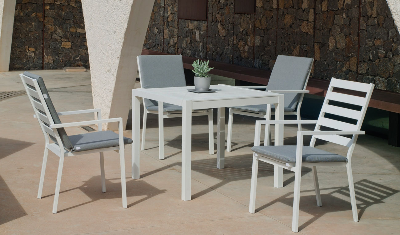 Set Mesa de aluminio Palma 90-4