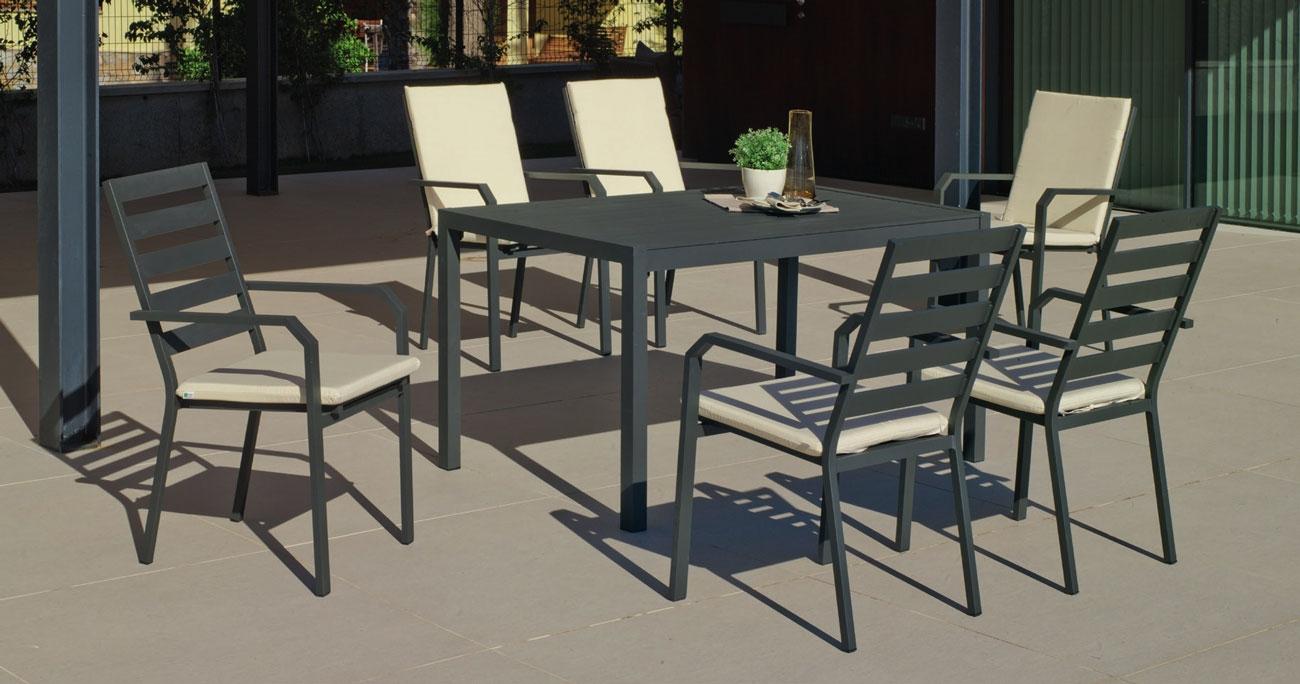 Set Mesa de aluminio Palma/Caravel 150-6 - Set Mesa de aluminio Palma/Caravel 150-6