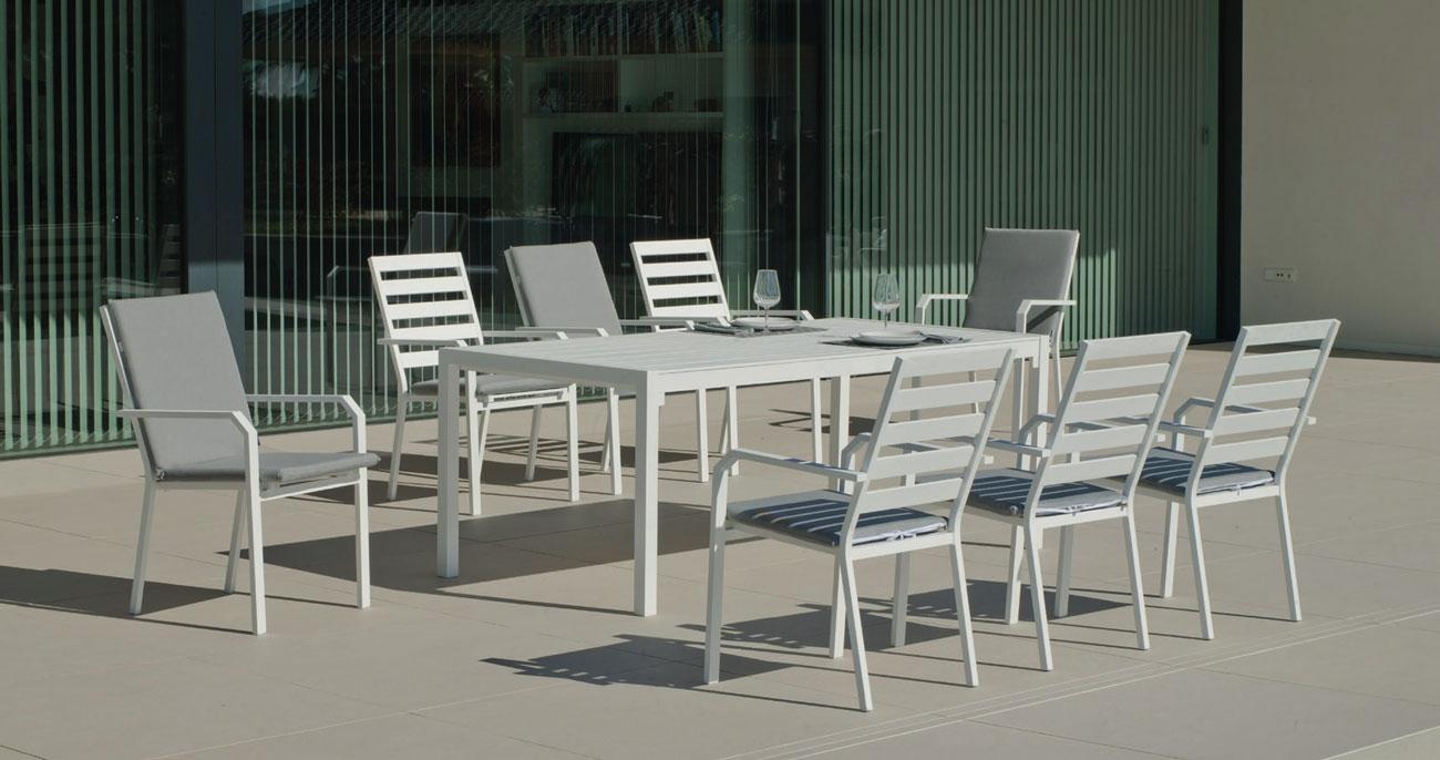 Set Mesa de aluminio Palma/Caravel 200-8