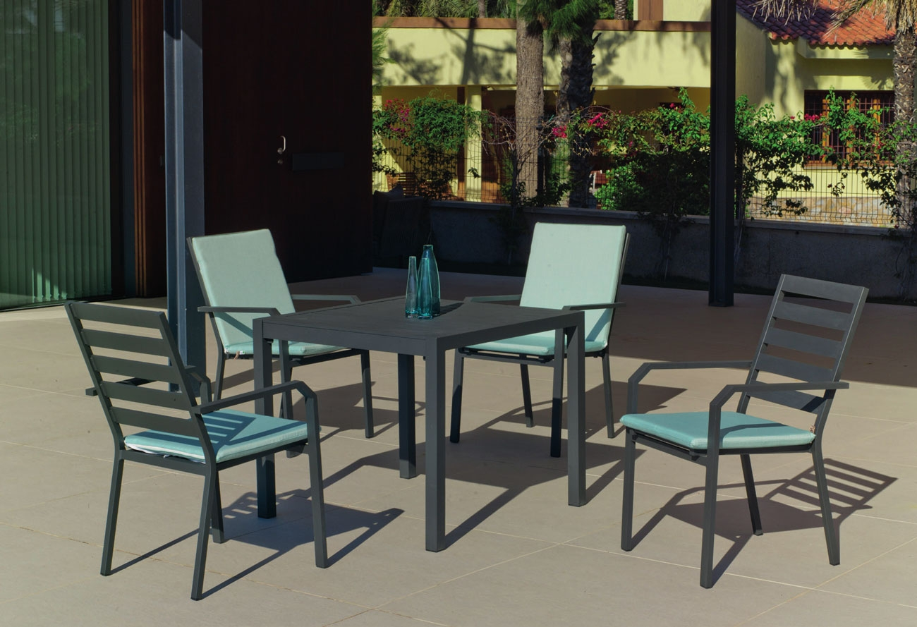 Set Mesa de aluminio Palma/Caravel 90-4 - Set Mesa de aluminio Palma/Caravel 90-4