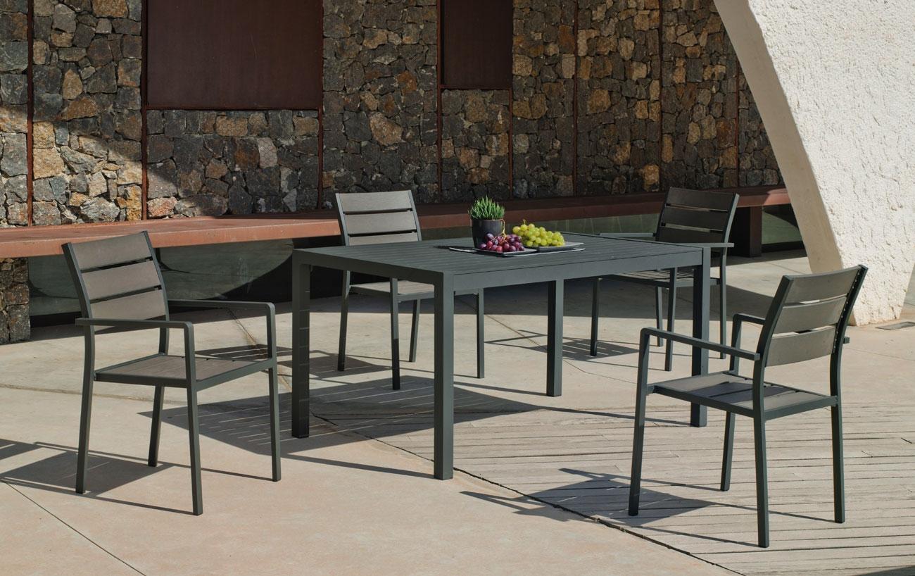 Set comedor Palma Eden 150 - Set comedor Palma Eden 150, Mesa de aluminio con tablero láminas de aluminio / Sillón de aluminio apilable.