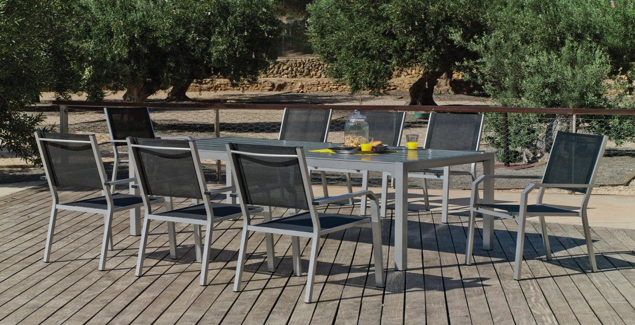 Set Mesa de aluminio Palma/Gema 200-8 - Set Mesa de aluminio Palma/Gema 200-8