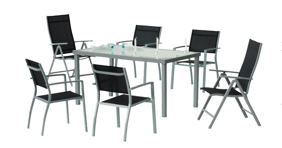 Set comedor para exterior Perseo 150/4 - Set Seluro 90, Mesa desmontable de aluminio con cristal templado. Sillón aluminio / textilén apilable.