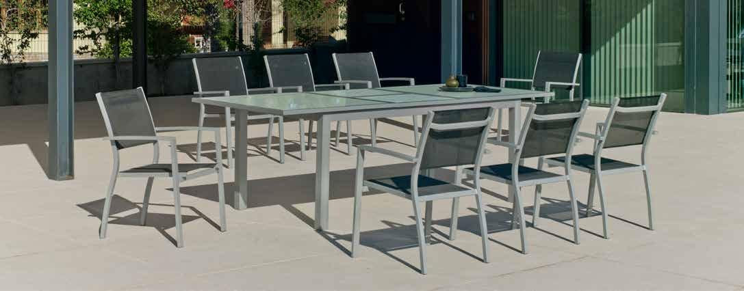 Set sillas y mesa estructura aluminio Perseo 180-240