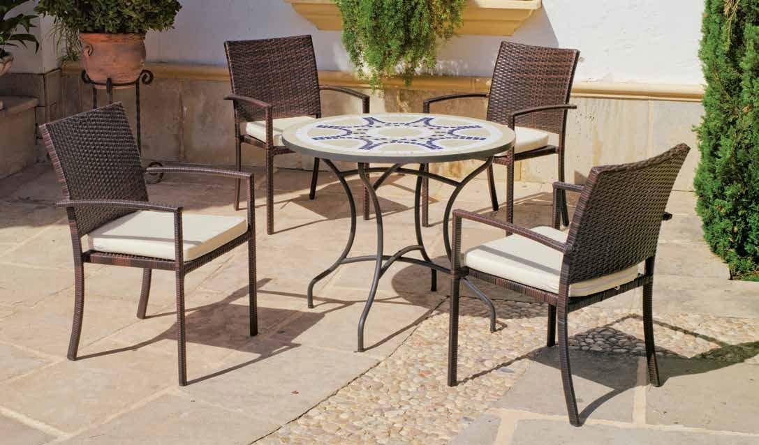 Set sillas o mesa mosaico modelo Trebol 75/4-Bahia  - Set sillas o mesa mosaico modelo Trebol 75/4-Bahia