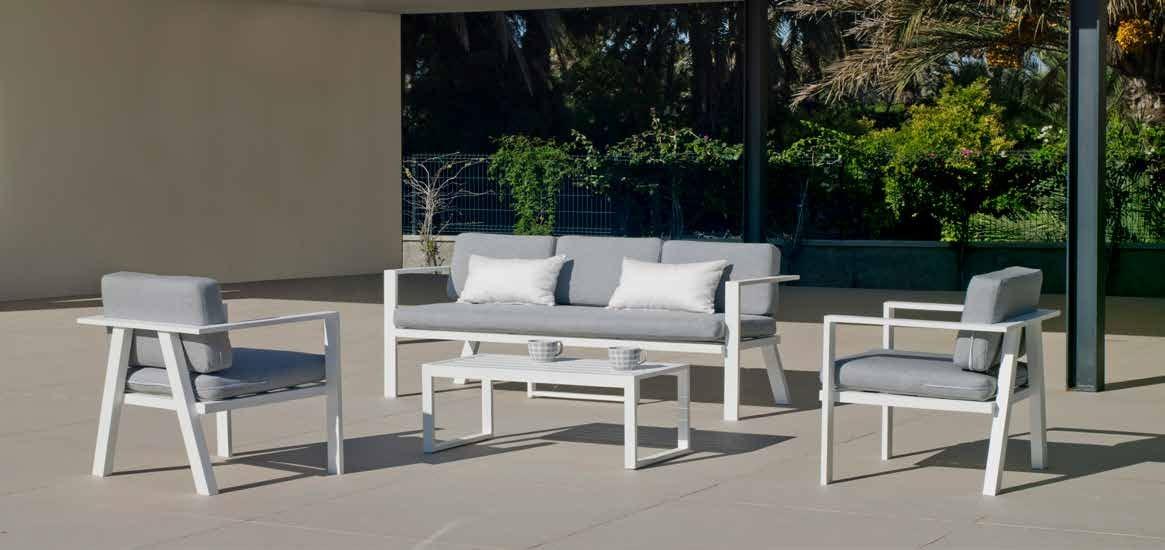 Set Sofa Azores 8 - Set Sofa Azores-8, se fabrica en una amplia gama de colores: Blanco o Antracita y las tapicerías son también seleccionables en calidad de tejido y color o estampado.