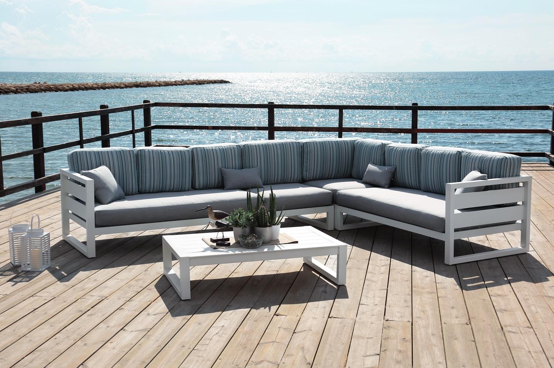 Sofá esquinero de aluminio modelo COSMOS en oferta - Sofa esquinero modelo Cosmos.