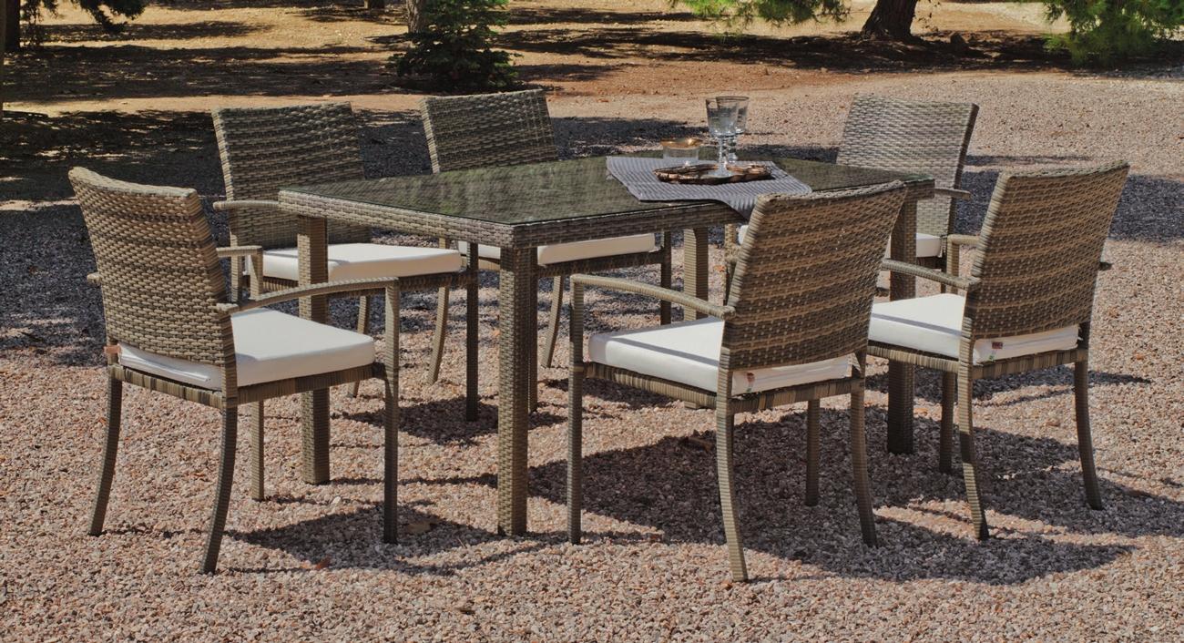 Set mesa de comedor de lujo para exteriores ABASARI 150 - Mesa de comedor con resistencia garantizada y acabado de lujo Abasari 150