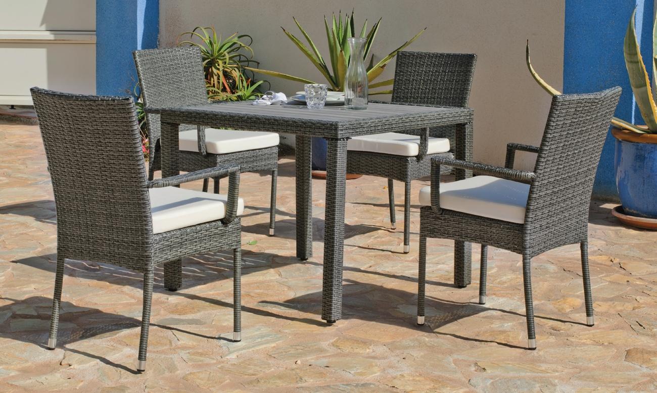 Set mesa de comedor para exteriores BORENA/MALI 909 - Mesa de comedor con resistencia garantizada y acabado de lujo BORENA/MALI 909
