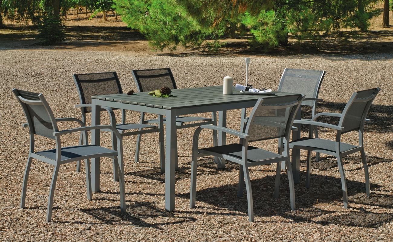 Set sillas y mesa modelo Denis/Amberes 150 - Juego de mesa desmontable de aluminio extensible con tablero poliwood modelo Denis/Amberes 150