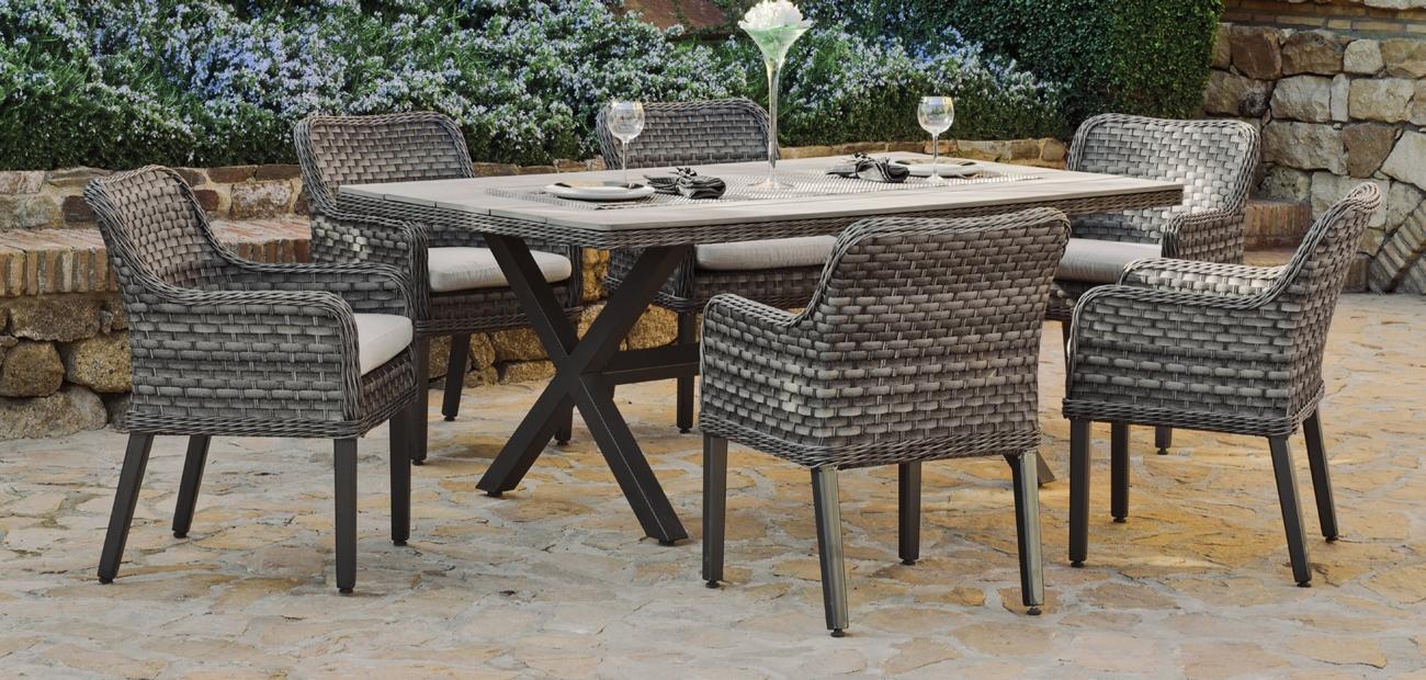 Set de comedor de rattan exterior Dominique 190 - Conjunto de mesa de comedor rectangular con sillones.