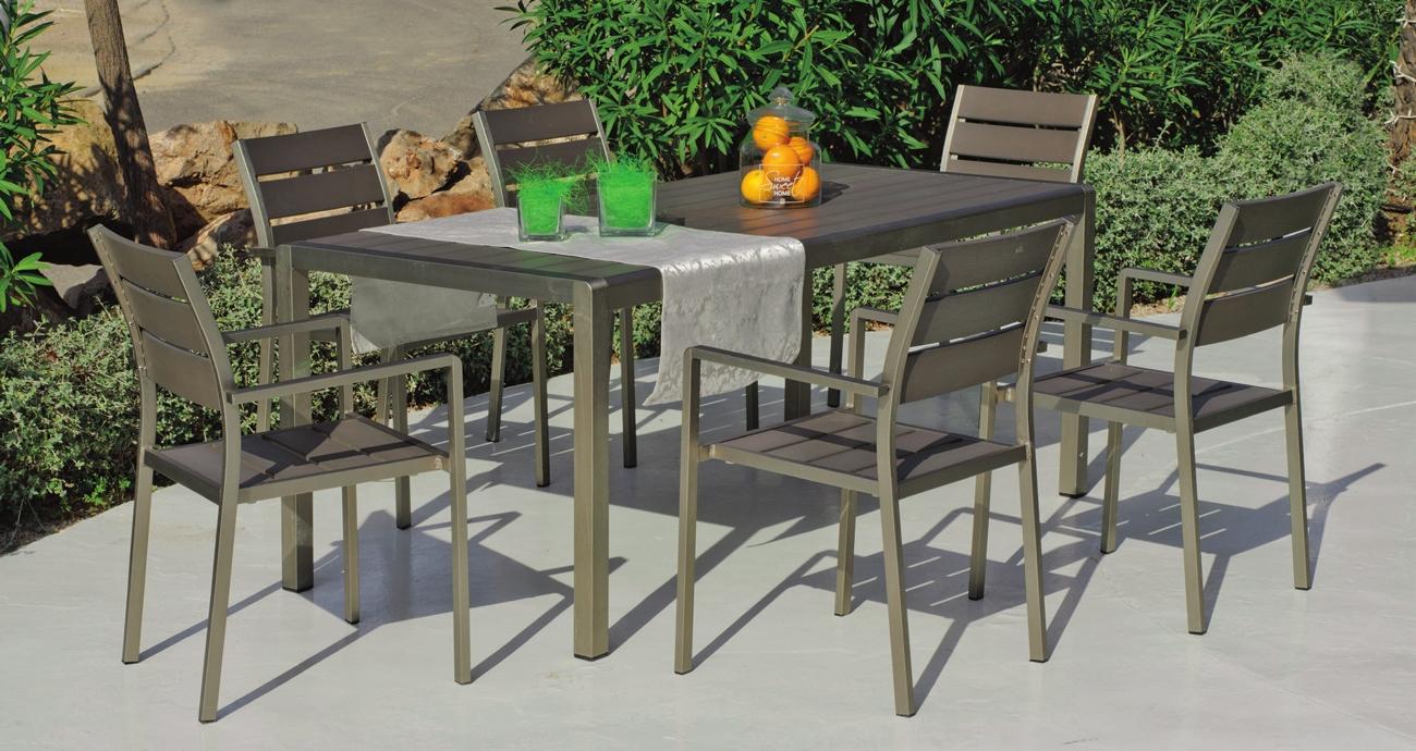 Set mesa de comedor para exteriores Eden 180 - Mesa de comedor con resistencia garantizada y acabado de lujo Eden RE