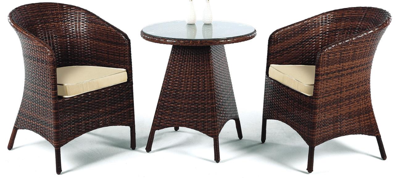 Mesa redonda de jardín modelo FLANDES con sillones - Pequeña mesa  redonda de rattan para exteriores con sillones.