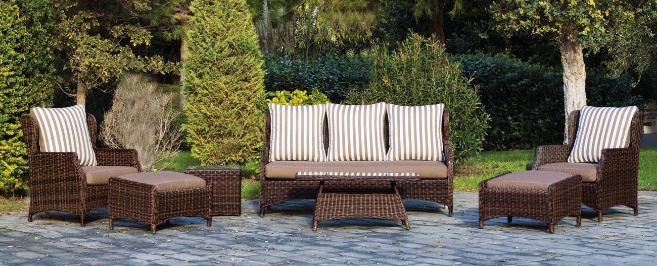 Set muebles para exteriores GARONA 8 - Muebles de Rattan de lujo con resistencia garantizada