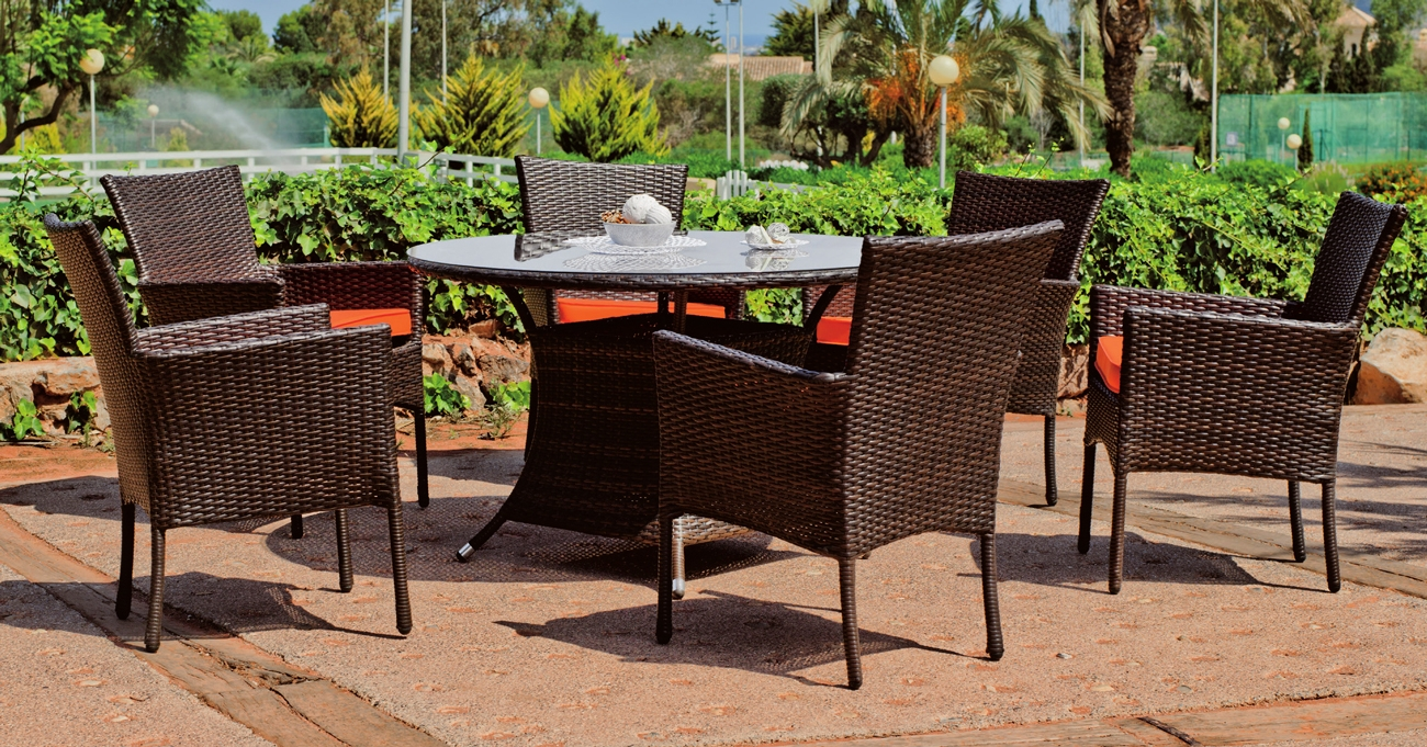 Mesa y sillones rattan para exteriores Lagos Bergamo - Mesa y sillones rattan para exteriores Lagos Bergamo
