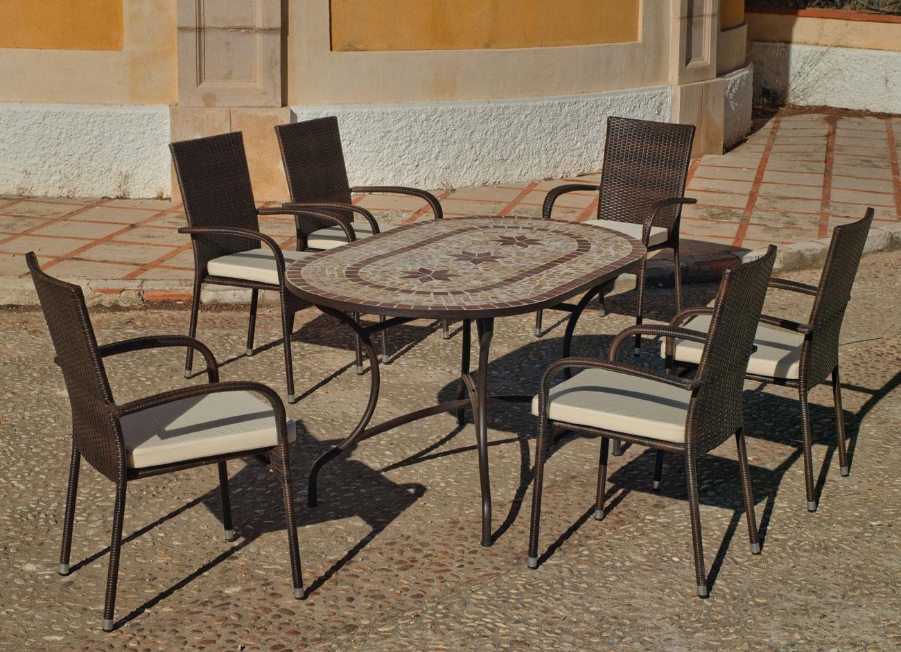 Set sillas y mesa mosaico Luana/Bergamo - Set sillas y mesa mosaico Luana/Bergamo