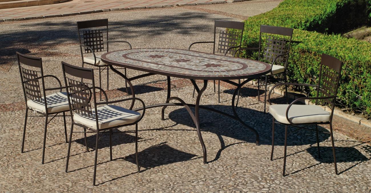 Set sillas y mesa mosaico Luana/Vigo - Set sillas y mesa mosaico Luana/Vigo