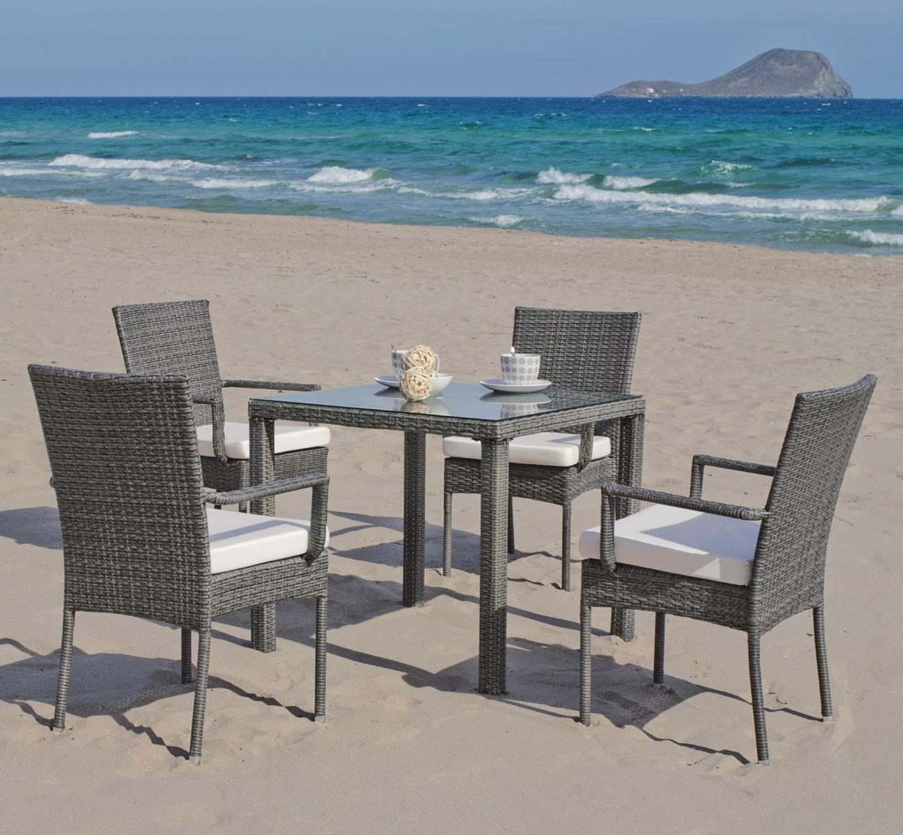 Set mesa de comedor para exteriores MALI 808 - Mesa de comedor con resistencia garantizada y acabado de lujo MALI 808