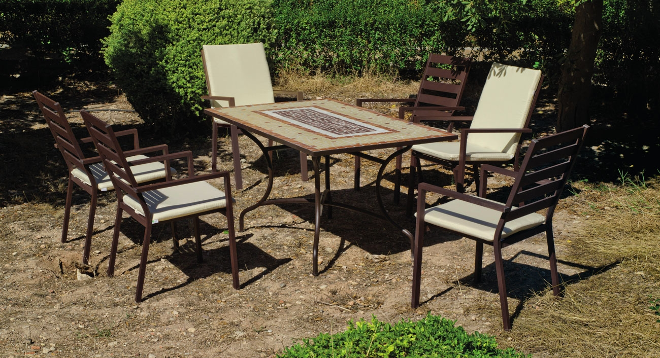 Set sillas y mesa mosaico Mara/Palma - Set sillas y mesa mosaico Mara/Palma