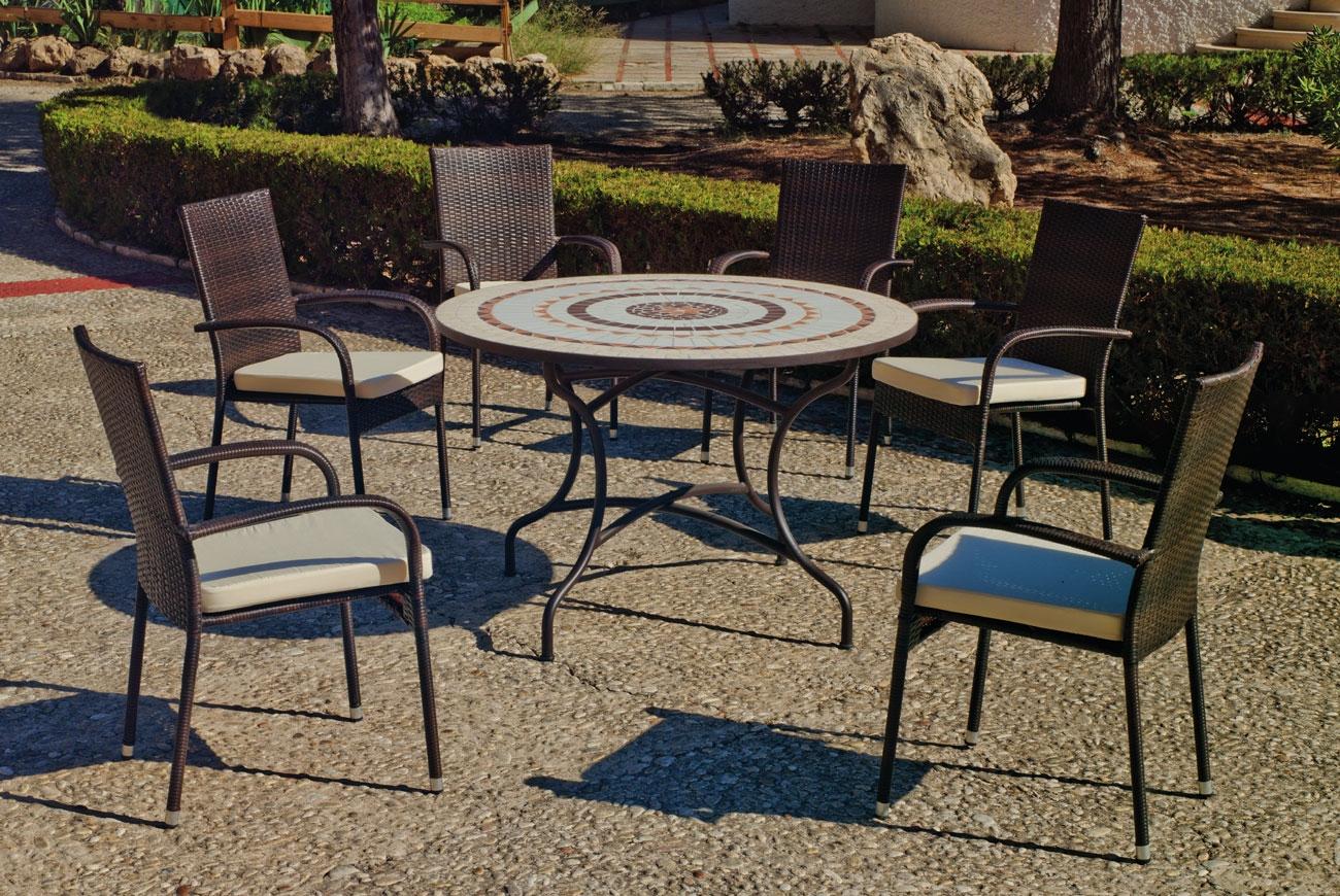 Set sillas y mesa mosaico Nabil/Bergamo - Set sillas y mesa mosaico Nabil/Bergamo