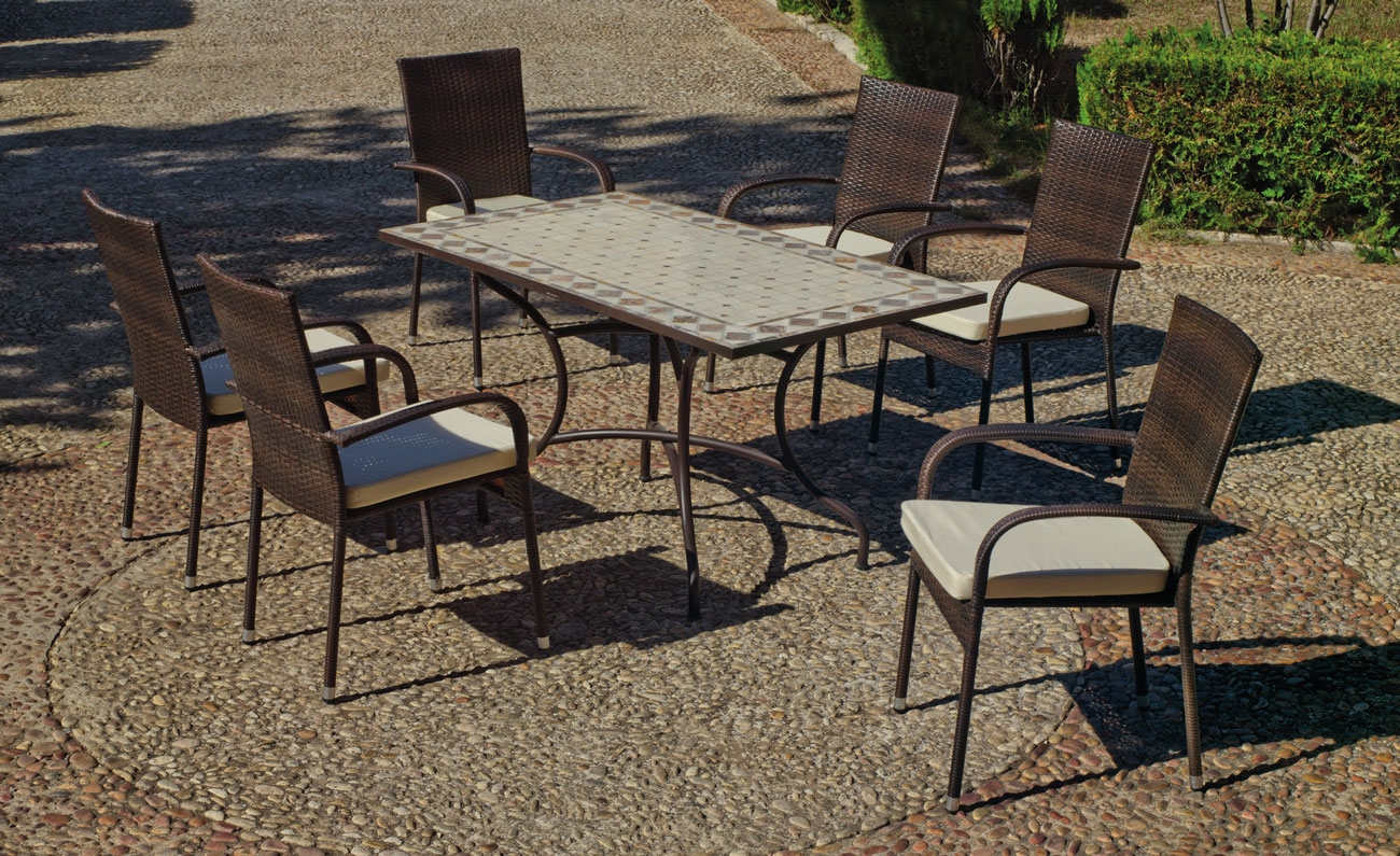 Set sillas y mesa mosaico Nadira/Bergamo - Set sillas y mesa mosaico Nadira/Bergamo