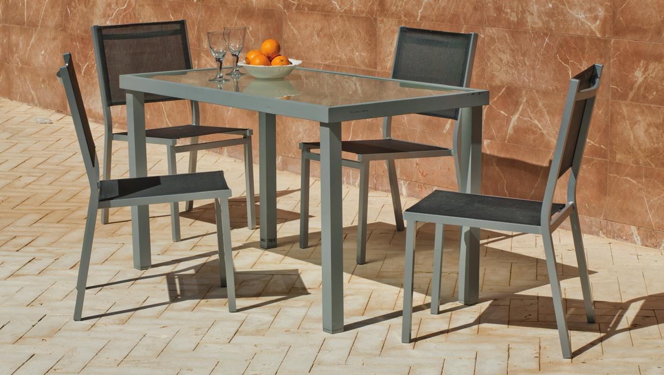 Set sillas y mesa estructura aluminio modelo PERSEO BOLTIMORE 130 - Set sillas y mesa estructura aluminio modelo PERSEO BOLTIMORE 130