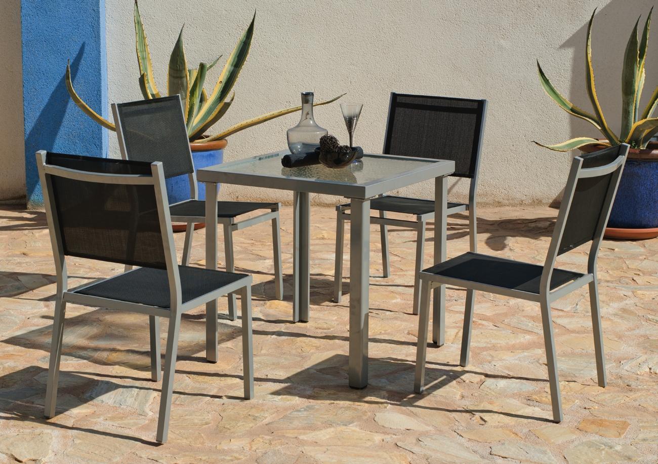 Set sillas y mesa estructura aluminio modelo PERSEO BOLTIMORE 707 - Set sillas y mesa estructura aluminio modelo PERSEO BOLTIMORE 707