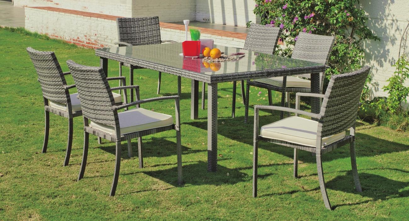 Set mesa de exterior con sillas Rimini 180 - Set formado por una mesa exterior y 4 sillones con cojines. Precios por separado